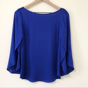 Milly Blue Butterfly Sleeve Scoop-Back Silk Blouse